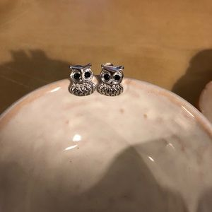Tiny silver owl earrings